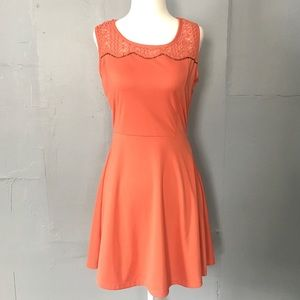 Blu Pepper sleeveless coral fit and flare dress